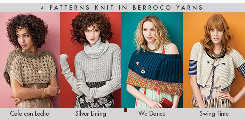 "4 patterns knit in Berroco yarns from ""Short Story: Chic Knits for Layering"" book"