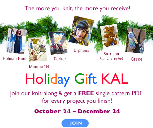 Holiday Gift KAL - Join our knit-along & get a FREE single pattern pdf for every project you finish!. October 24 - November 24
