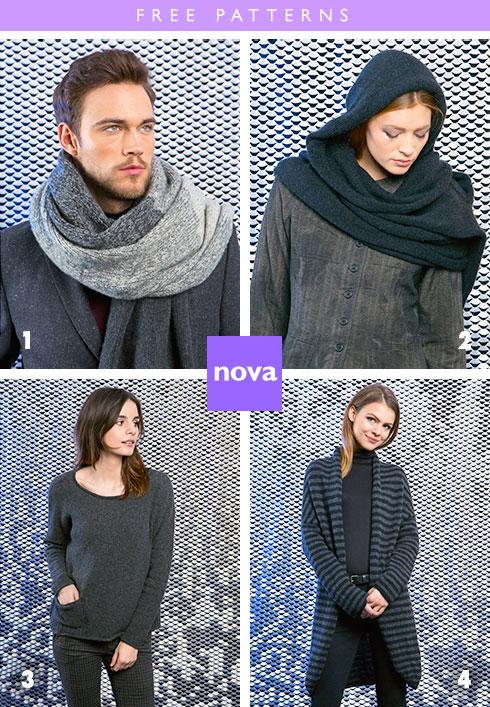 4 Free Patterns, Knit in Lang Nova