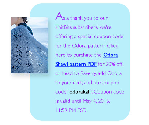 Discount coupon code for Odora Shawl pattern pdf